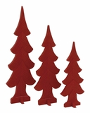 """Set of 3 Wooden Red Xmas Tree MDF S/3 36"""", 29"""", 24""""H by Woodland Import"""