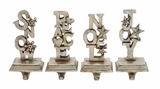 """Set of 4 Assorted Antique Polystone Stocking Hangers-SNOW, PEACE, NOEL, JOY 4""""W, 9""""H by Woodland Import"""