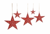 "Set of Five Christmas Metal Red Star w/ Snowflakes 18"", 15"", 12"", 9"", 6""W by Woodland Import"