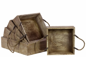 Set of Five Durable and Comfortable Wooden Trays