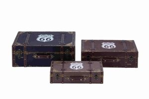 Set of Three Antique and Old Fashioned Wooden Boxes Brand Benzara
