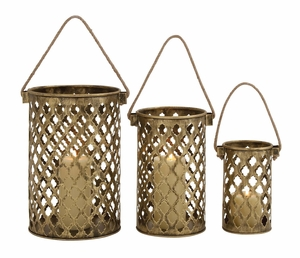 Set of Three Antique Metal Lantern Candle Holders by Woodland Import