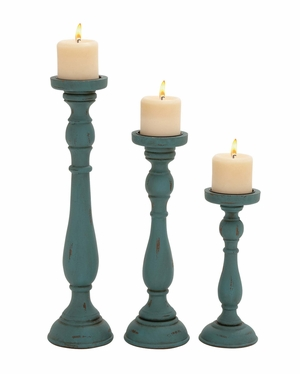 Set of Three Rusty and Antique Candle Holders by Woodland Import