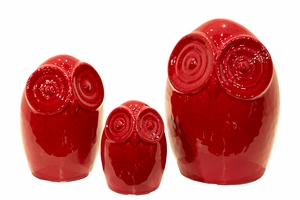 Set of Three Shiny Red Ceramic Owls