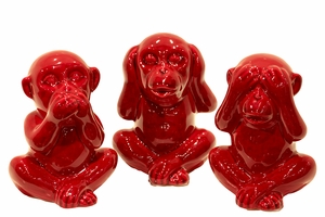 Set of Three Trendy Bright Red Monkeys