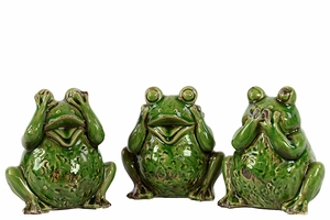 Set of Three Unique Ceramic Green Frogs