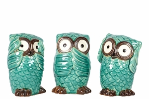 Set of Three Wide Eyes Ceramic Owls