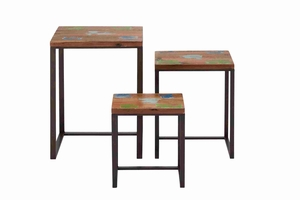 Set of Three Wooden Metal Nest Table Brand Benzara