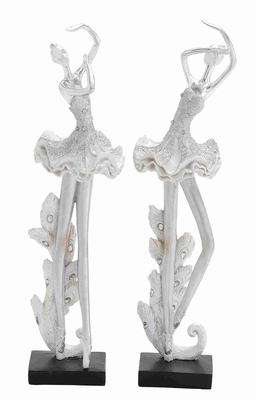 Set of Two Assorted Elegant Ballerina Dancer Figurines Decor Brand Benzara