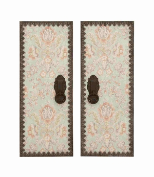 Set of Two Assorted Wooden Metal Decorative Wall Panel Brand Benzara