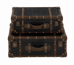 Set of Two Black and Brown Leather Strap Cases Brand Benzara