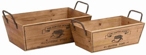 Set of Two Classy Wooden with Metal Handle Wine Trays Brand Benzara