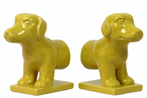 Set of Two Cute & Charming Ceramic Dog Bookends in Yellow Color