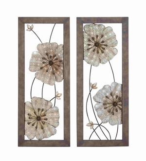 Set of Two Framed Assorted Floral Art Wall D�cor Brand Benzara
