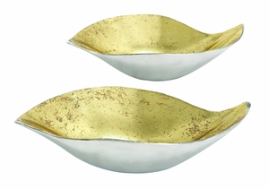 Set Of Two Golden Aluminium Gld Bowl - 22040 by Benzara