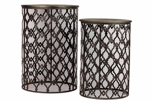 Set of Two Gorgeous Metallic Authentic Tables by Urban Trends Collection