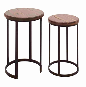 Set of Two Metal Stand Wooden Nest Tables Brand Benzara