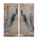 Set of Two New York and Paris Themed Postcard Wall Decor Brand Benzara