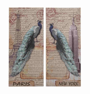 Set of Two New York and Paris Themed Postcard Wall D�cor Brand Benzara