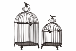 Set of two Simple and Elegant Metal Bird Cages by Urban Trends Collection