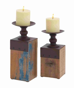 Set of Two Wooden Base Metal Stand Candle Holders Brand Benzara