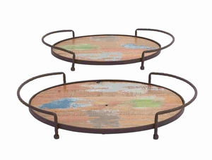 Set of Two Wooden Metal Oval Shaped Trays Brand Benzara