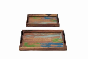 Set of Two Wooden Trays with Metal Handle Brand Benzara