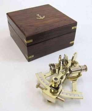 Sextant Brass With Wooden Box Nautical Beauty Easy To Use Brand IOTC
