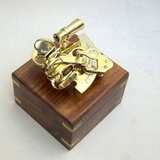 "Sextant Nautical Brass 4"" With Wooden Box #BR4850 Brand IOTC"