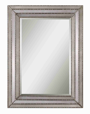 Seymour Wall Mirror with Antiqued Mirror inlays Frame Brand Uttermost
