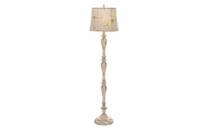 Shabby Paris Shade Floor Lamp, Polystone Floor Lamp Brand Woodland
