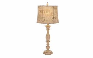 Shabby Paris Shade Table Lamp, Polystone Table Lamp Brand Woodland