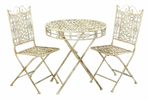Shabby White Metal Bistro Patio Table and Chair - Set of 3 Brand Woodland