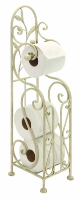 Shabby White Metal Toilet Paper Holder, Tissue Stand with Magazine Rack Brand Woodland
