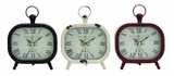 Shanghai Antique Styled Metal Table Clock 3 Assorted by Woodland Import