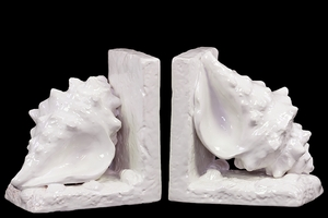 Shanghai's Attractive Ceramic Sea-Shell Bookend White by Urban Trends Collection