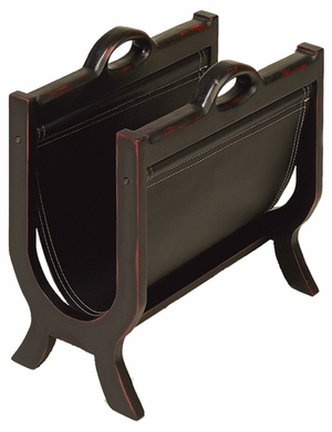 Sharp Leather N Wood Magazines Paper Rack Stand- Attracts The Visitors Brand Woodland