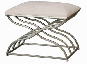Shea Satin Nickle Small Bench With Champagne Wash Brand Uttermost