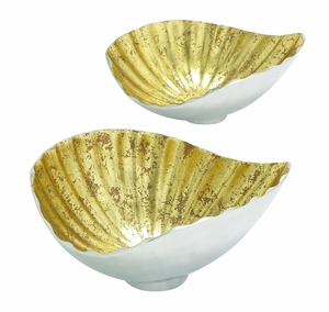 Shell Styled Gorgeous Aluminum Gold Bowl Set/2 by Woodland Import