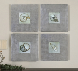 Shellfish Sea Life Artwork In Modern Metal Frames Set Brand Uttermost