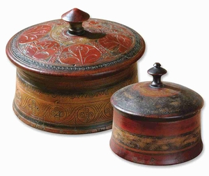 Sherpa Decorative Box Set With Red and Browned Etched Details Brand Uttermost