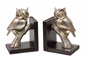 Shimmering and Glossy Resin Bookend Gold Owl
