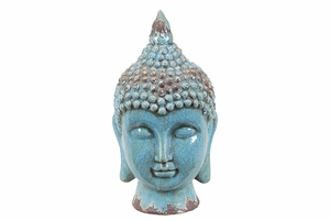 Shimmering Blue Ceramic Vibrant Buddha Head by Urban Trends Collection
