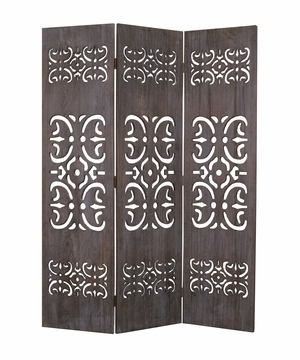 Shinto 3 Panel Wood Screen Carved with Intricate Detailing Brand Screen Gem