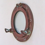 Ship Aluminum Porthole Glass Wall Decor in Antique Burgundy Finish by IOTC
