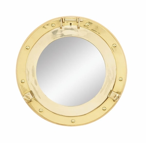 "Ship Port Hole Mirror Lacquered Brass 11.5"" D Porthole Brand Woodland"