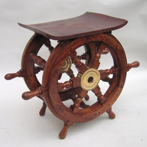 "Ship Wheel Wood Side End Table 18"" Large Nautical New Brand IOTC"