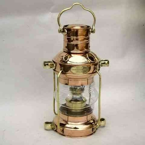 Ships Anchor Lamp - Old Fashioned Copper And Brass Oil Lamp Brand IOTC