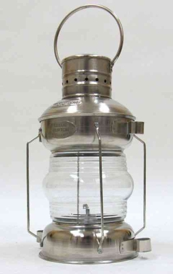 Ships Anchor Lamp - Old Fashioned Iron And Chrome Oil Lamp Brand IOTC
