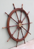 Ships Helm - Wooden Ship Wheel Helm Decor With Brass Center Brand IOTC